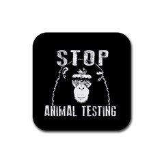 Stop Animal Testing   Chimpanzee  Rubber Square Coaster (4 Pack)  by Valentinaart