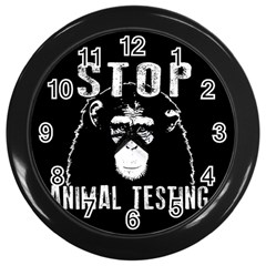 Stop Animal Testing   Chimpanzee  Wall Clocks (black) by Valentinaart