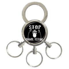 Stop Animal Testing   Chimpanzee  3 Ring Key Chains by Valentinaart
