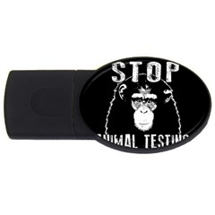 Stop Animal Testing   Chimpanzee  Usb Flash Drive Oval (2 Gb) by Valentinaart