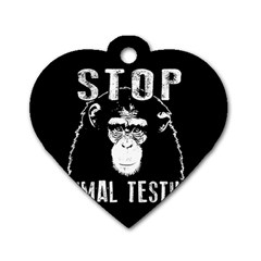 Stop Animal Testing   Chimpanzee  Dog Tag Heart (one Side) by Valentinaart
