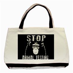 Stop Animal Testing   Chimpanzee  Basic Tote Bag (two Sides) by Valentinaart