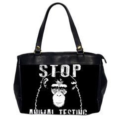 Stop Animal Testing   Chimpanzee  Office Handbags (2 Sides)  by Valentinaart