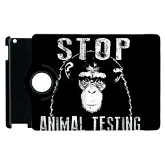 Stop Animal Testing   Chimpanzee  Apple Ipad 3/4 Flip 360 Case by Valentinaart