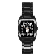 Stop Animal Testing   Chimpanzee  Stainless Steel Barrel Watch by Valentinaart