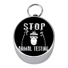 Stop Animal Testing   Chimpanzee  Mini Silver Compasses by Valentinaart