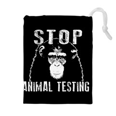 Stop Animal Testing   Chimpanzee  Drawstring Pouches (extra Large) by Valentinaart