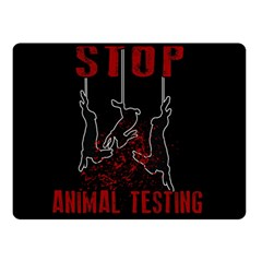 Stop Animal Testing   Rabbits  Double Sided Fleece Blanket (small)  by Valentinaart