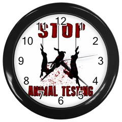 Stop Animal Testing   Rabbits  Wall Clocks (black) by Valentinaart