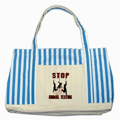 Stop Animal Testing   Rabbits  Striped Blue Tote Bag by Valentinaart