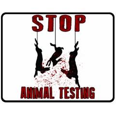 Stop Animal Testing   Rabbits  Fleece Blanket (medium)  by Valentinaart