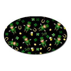 St Patricks Day Pattern Oval Magnet by Valentinaart