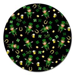 St Patricks Day Pattern Magnet 5  (round) by Valentinaart