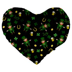 St Patricks Day Pattern Large 19  Premium Heart Shape Cushions by Valentinaart