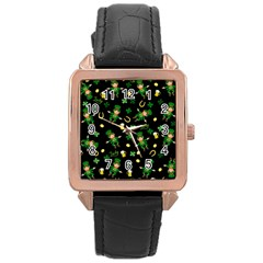 St Patricks Day Pattern Rose Gold Leather Watch  by Valentinaart