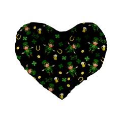 St Patricks Day Pattern Standard 16  Premium Flano Heart Shape Cushions by Valentinaart