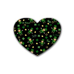 St Patricks Day Pattern Rubber Coaster (heart)  by Valentinaart