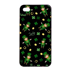 St Patricks Day Pattern Apple Iphone 4/4s Seamless Case (black) by Valentinaart