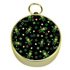 St Patricks Day Pattern Gold Compasses by Valentinaart