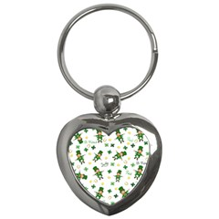 St Patricks Day Pattern Key Chains (heart)  by Valentinaart