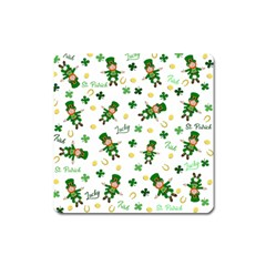 St Patricks Day Pattern Square Magnet by Valentinaart