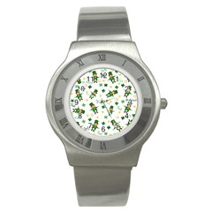 St Patricks Day Pattern Stainless Steel Watch by Valentinaart