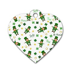 St Patricks Day Pattern Dog Tag Heart (one Side) by Valentinaart