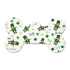 St Patricks Day Pattern Dog Tag Bone (one Side) by Valentinaart