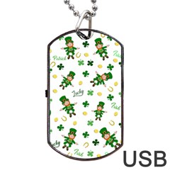 St Patricks Day Pattern Dog Tag Usb Flash (one Side) by Valentinaart