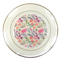 Purple And Pink Cute Floral Pattern Porcelain Plates by paulaoliveiradesign