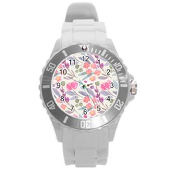 Purple And Pink Cute Floral Pattern Round Plastic Sport Watch (l) by paulaoliveiradesign