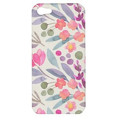 Purple And Pink Cute Floral Pattern Apple Iphone 5 Hardshell Case by paulaoliveiradesign