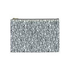Elio s Shirt Faces In Black Outlines On White Cosmetic Bag (medium)  by PodArtist