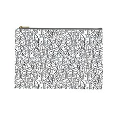 Elio s Shirt Faces In Black Outlines On White Cosmetic Bag (large)  by PodArtist