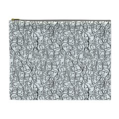 Elio s Shirt Faces In Black Outlines On White Cosmetic Bag (xl) by PodArtist