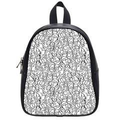 Elio s Shirt Faces In Black Outlines On White School Bag (small) by PodArtist