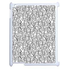 Elio s Shirt Faces In Black Outlines On White Apple Ipad 2 Case (white) by PodArtist
