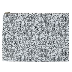 Elio s Shirt Faces In Black Outlines On White Cosmetic Bag (xxl)  by PodArtist