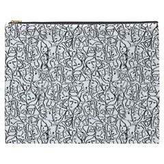 Elio s Shirt Faces In Black Outlines On White Cosmetic Bag (xxxl)  by PodArtist