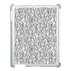 Elio s Shirt Faces In Black Outlines On White Apple Ipad 3/4 Case (white) by PodArtist
