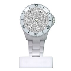 Elio s Shirt Faces In Black Outlines On White Plastic Nurses Watch by PodArtist