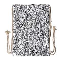 Elio s Shirt Faces In Black Outlines On White Drawstring Bag (large) by PodArtist