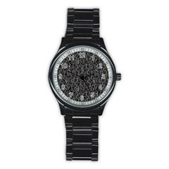 Elio s Shirt Faces In White Outlines On Black Crying Scene Stainless Steel Round Watch by PodArtist
