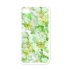 Light Floral Collage  Apple Iphone 4 Case (white) by dflcprints