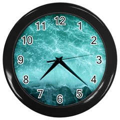 Green Ocean Splash Wall Clocks (black) by snowwhitegirl