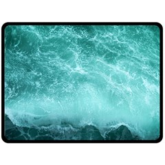 Green Ocean Splash Fleece Blanket (large)  by snowwhitegirl