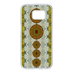 Spring In Mind And Flowers In Soul Be Happy Samsung Galaxy S7 Edge White Seamless Case by pepitasart