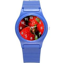 Red Strawberries Round Plastic Sport Watch (s) by snowwhitegirl