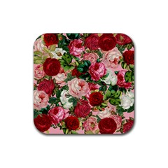 Rose Bushes Rubber Square Coaster (4 Pack)  by snowwhitegirl