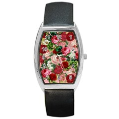 Rose Bushes Barrel Style Metal Watch